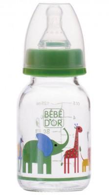 Diğer - Bebedor Desenli Cam Biberon Yavaş Akış 125ml Yeşil