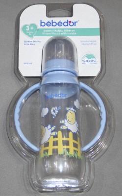 Diğer - Bebedor Desenli Ergonomik Kulplu Biberon 250ml Mavi