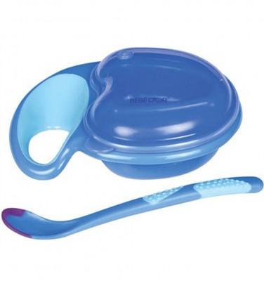 Bebedor - Bebedor Kapaklı Kolay Kavrama Tabak Kaşık Seti Mavi