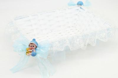 Diğer - Bebek Biblolu Dikdörtgen Lohusa ve Bebek Şekeri Sepeti Mavi