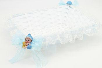 Bebek Biblolu Dikdörtgen Lohusa ve Bebek Şekeri Sepeti Mavi