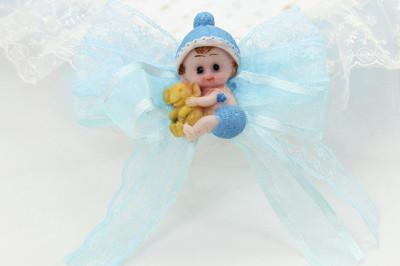 Bebek Biblolu Dikdörtgen Lohusa ve Bebek Şekeri Sepeti Mavi - Thumbnail