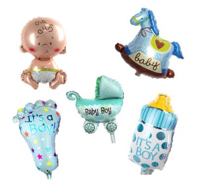 Diğer - Bebek Figürlü Folyo Balon Seti Mavi