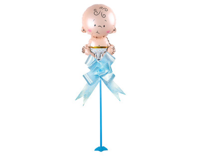 Diğer - Bebek Figürlü Parti Masa Süsü Çubuklu Folyo Balon Mavi