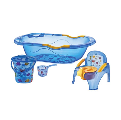 Diğer - Bebek Yıkama Küveti ve Banyo Seti 5 Parça Mavi