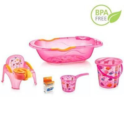 Diğer - Bebek Yıkama Küveti ve Banyo Seti 5 Parça Pembe
