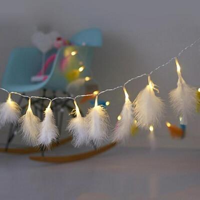 Diğer - Beyaz Kuş Tüyü Led Dekor Işığı 2 Metre