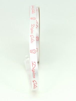 Beyaz Üzeri Pembe Dişim Çıktı Yazılı Saten Kurdele 10mt Pembe - Thumbnail