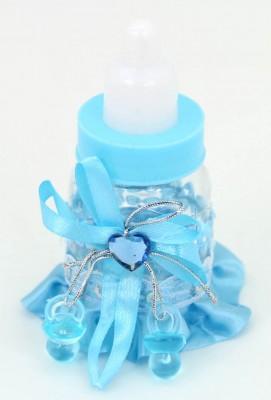 Biberon Şeklinde Bebek Şekeri Süsü 12 Adet Mavi - Thumbnail
