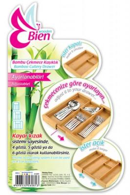 Bien Wooden Bambu Ayarlanabilir Sürgülü Çekmece İçi Kaşıklık - Thumbnail