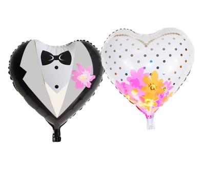 Diğer - Birleşik Gelinlik ve Damatlık Kalp Şeklinde Folyo Balon 90cm