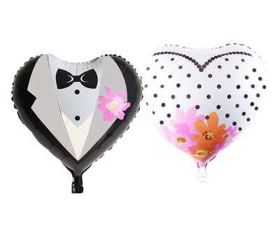 Birleşik Gelinlik ve Damatlık Kalp Şeklinde Folyo Balon 90cm - Thumbnail