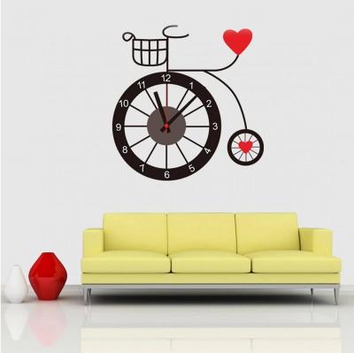 Diğer - Bisiklet Tasarımlı Duvara Yapışan Sticker Saat