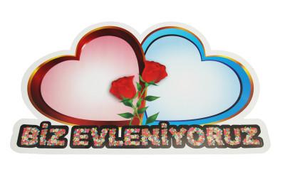 Diğer - Biz Evleniyoruz Yazılı Çift Kalp Harflik Gelin Arabası Süsü
