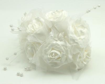 Diğer - Boncuklu ve Tüllü Yapay Gelin Buketi Süsleme Çiçeği Beyaz