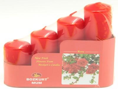 Bozkurt Mum - Bozkurt Kokulu Kütük Mum Seti 4lü Kırmızı 3,5 cm