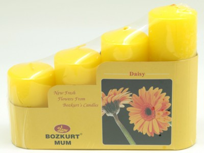 Bozkurt Mum - Bozkurt Kokulu Kütük Mum Seti 4lü Sarı 5 cm
