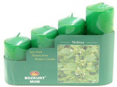 Bozkurt Mum - Bozkurt Kokulu Kütük Mum Seti 4lü Yeşil 5 cm