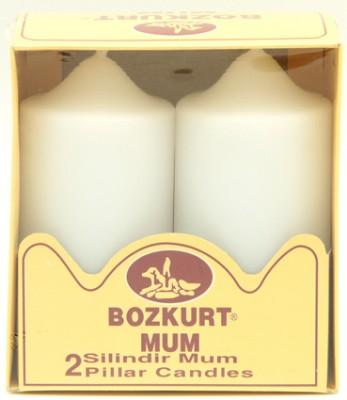 Bozkurt Mum - Bozkurt Silindir Şeklinde Kütük Mum 2li Beyaz 12 cm