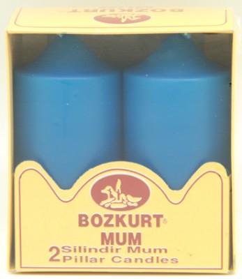Bozkurt Mum - Bozkurt Silindir Şeklinde Kütük Mum 2li Mavi 12 cm
