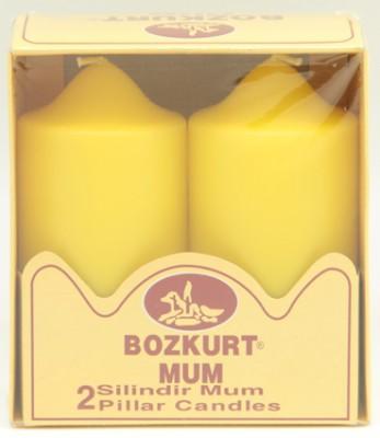 Bozkurt Mum - Bozkurt Silindir Şeklinde Kütük Mum 2li Sarı 12 cm
