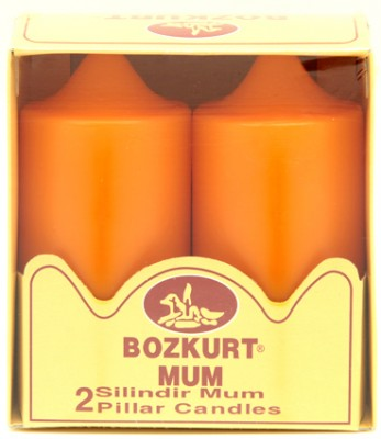 Bozkurt Mum - Bozkurt Silindir Şeklinde Kütük Mum 2li Turuncu 12 cm