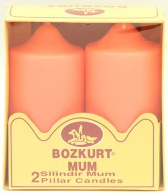 Bozkurt Mum - Bozkurt Silindir Şeklinde Kütük Mum 2li Yavruağzı 12 cm