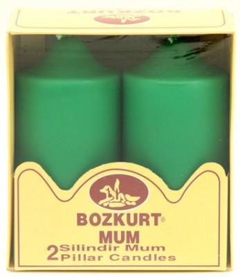 Bozkurt Mum - Bozkurt Silindir Şeklinde Kütük Mum 2li Yeşil 12 cm