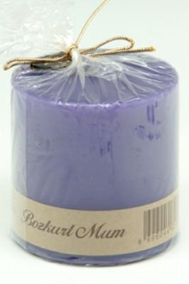 Bozkurt Mum - Bozkurt Silindir Şeklinde Mum Mor 7x7 cm