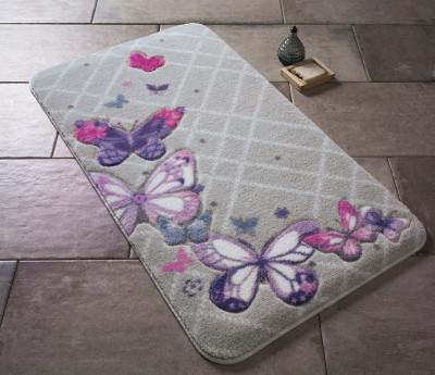 Confetti - Butterfly Plaid Oymalı Banyo Halısı Mor 50x57cm