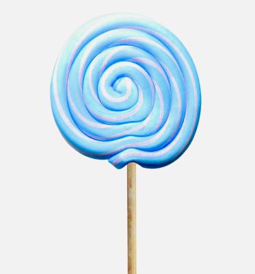 Büyük Yuvarlak Çubuklu Sosyete Şekeri Lolipop Mavi Beyaz 5 Adet - Thumbnail