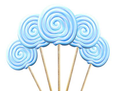 Diğer - Büyük Yuvarlak Çubuklu Sosyete Şekeri Lolipop Mavi Beyaz 5 Adet