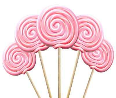 Diğer - Büyük Yuvarlak Çubuklu Sosyete Şekeri Lolipop Pembe Beyaz 5 Adet