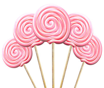 Büyük Yuvarlak Çubuklu Sosyete Şekeri Lolipop Pembe Beyaz 5 Adet