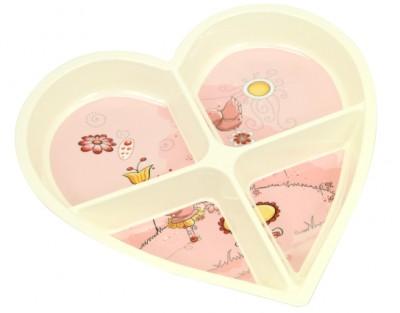 Diğer - Çiçek Baskılı Kalp Şeklinde 4 Bölmeli Melamin Kahvaltılık ve Çerezlik Krem
