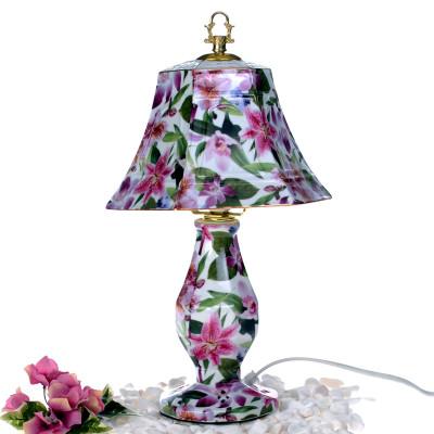 Diğer - Çiçek Desenli Altıgen Şapkalı Porselen Abajur 35cm