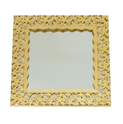 Çiçek Desenli Kare Aynalı Supla ve Yüzük Tepsisi Gold - Thumbnail