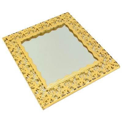Diğer - Çiçek Desenli Kare Aynalı Supla ve Yüzük Tepsisi Gold