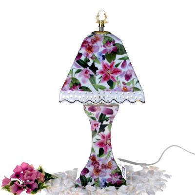 Diğer - Çiçek Desenli Piramit Şapkalı Porselen Abajur 35cm
