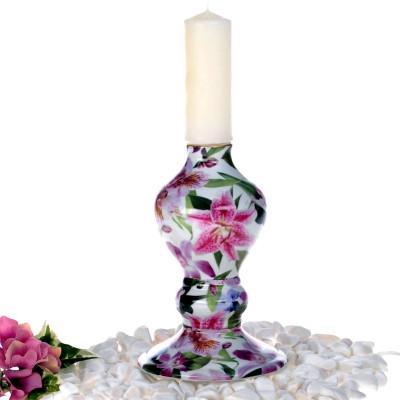 Diğer - Çiçek Desenli Porselen Mumluk 17cm Pembe