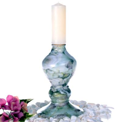 Diğer - Çiçek Desenli Porselen Mumluk 17cm Yeşil