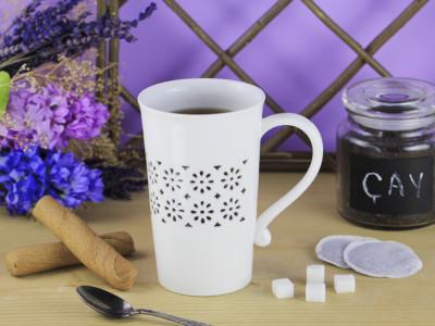 Diğer - Çiçek Desenli Şeffaf Porselen Kupa Bardak 720ml