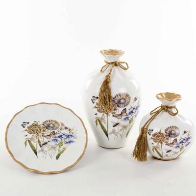 Diğer - Çiçek Desenli Seramik 3 Parça Salon Seti Beyaz