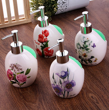 Çiçek Desenli Süngerli Porselen Deterjanlık ve Sıvı Sabunluk