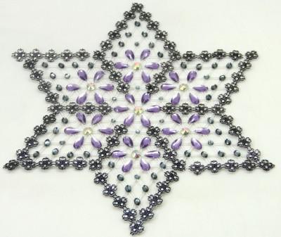 Diğer - Çiçek Desenli Yıldız Şeklinde Kasnak İşi Sehpa Örtüsü Lila 6 Parça