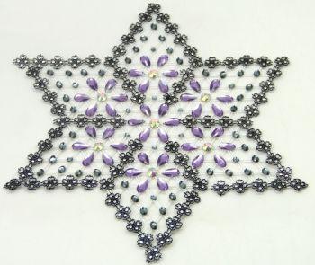 Çiçek Desenli Yıldız Şeklinde Kasnak İşi Sehpa Örtüsü Lila 6 Parça