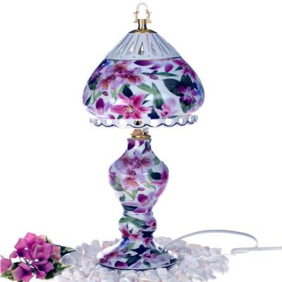 Diğer - Çiçek Desenli Yuvarlak Şapkalı Porselen Abajur 35cm