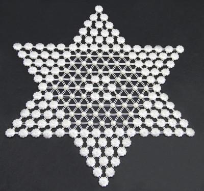 Diğer - Çiçek İncili Yıldız Motifli Kasnak İşi Örtü 6 Parça