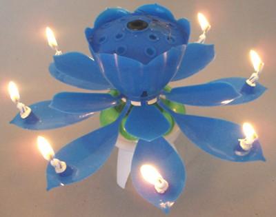 Diğer - Çiçek Şeklinde Müzikli ve Maytaplı Pasta Mumu Mavi