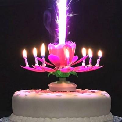 Diğer - Çiçek Şeklinde Müzikli ve Maytaplı Pasta Mumu Pembe